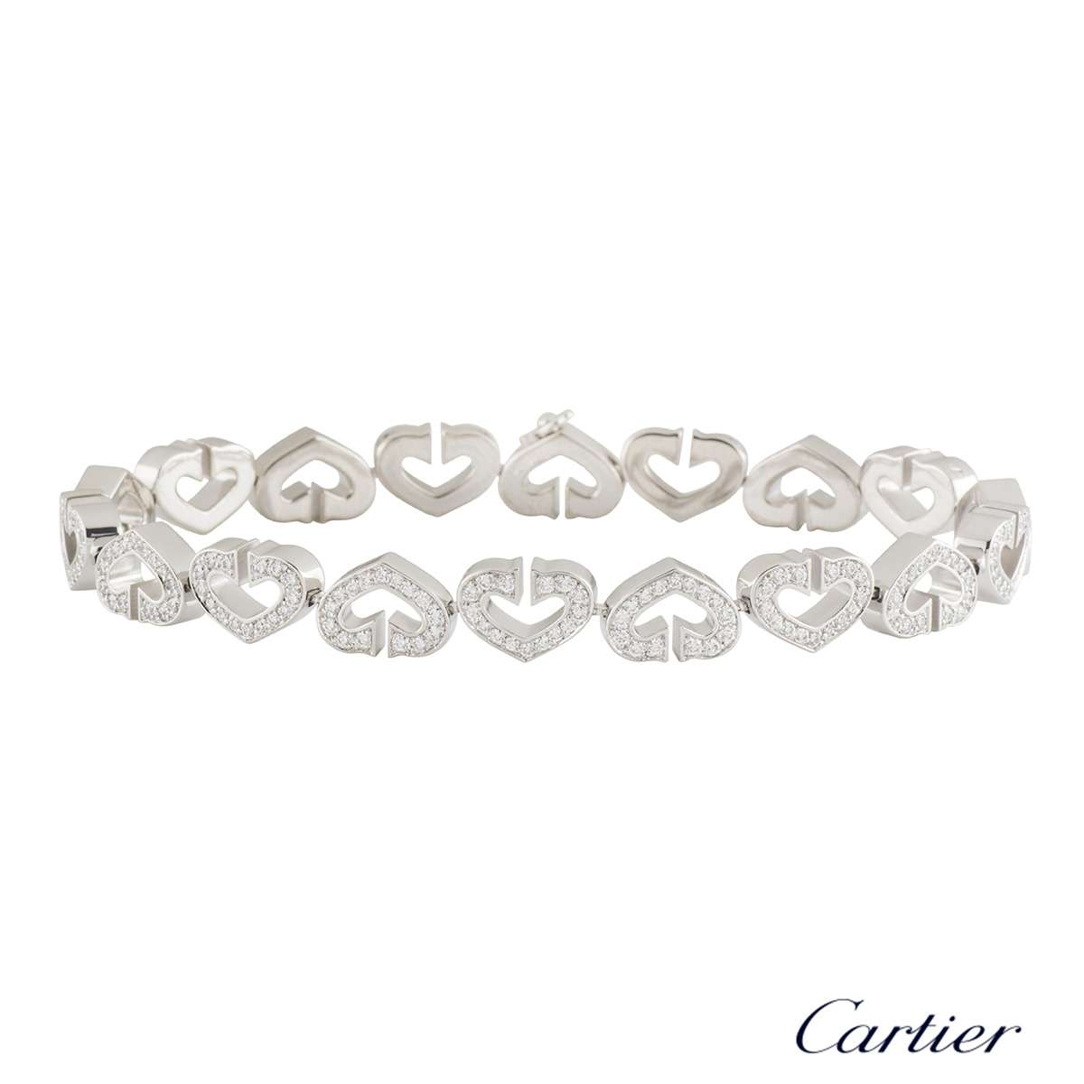 Cartier White Gold Diamond Hearts and Symbols Bracelet 1.81ct F+/VS+